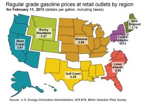 Average US gasoline prices February 2013